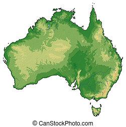 Relief map - Australia - 3D-Rendering