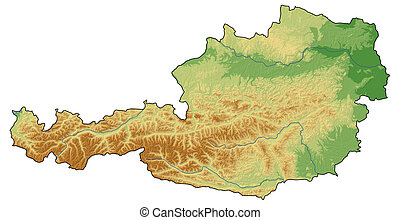 Relief map - Austria - 3D-Rendering - Relief map of Austria...
