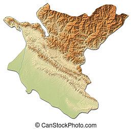 Relief map - Bheri (Nepal) - 3D-Rendering