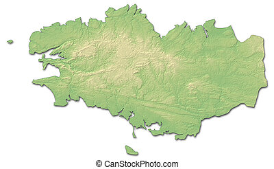 Relief map - Brittany (France) - 3D-Rendering