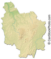 Relief map - Burgundy (France) - 3D-Rendering