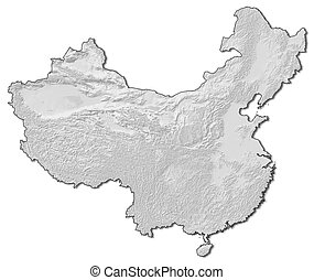 Relief map - China - 3D-Rendering