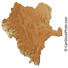Relief map of Durango, a province of Mexico, with shaded relief.