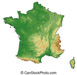 Relief map - France - 3D-Rendering