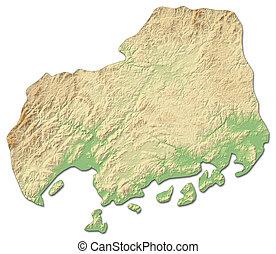 Relief map - Hiroshima (Japan) - 3D-Rendering - Relief map...