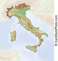 Relief map - Italy - 3D-Rendering