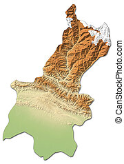 Relief map - Janakpur (Nepal) - 3D-Rendering