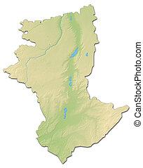 Relief map - Kostanay (Kazakhstan) - 3D-Rendering