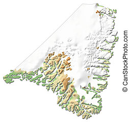 Relief map - Kujalleq (Greenland) - 3D-Rendering
