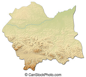 Relief map - Lesser Poland (Poland) - 3D-Rendering