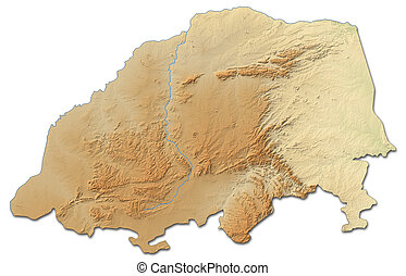 Relief map - Limpopo (South Africa) - 3D-Rendering