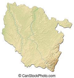 Relief map - Lorraine (France) - 3D-Rendering