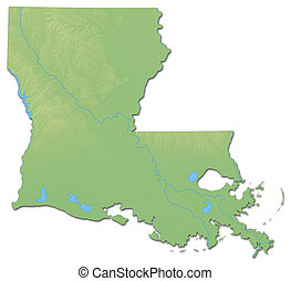 Relief map - Louisiana (United States) - 3D-Rendering
