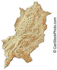 Relief map - Luang Prabang (Laos) - 3D-Rendering