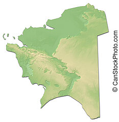 Relief map - Mangystau (Kazakhstan) - 3D-Rendering