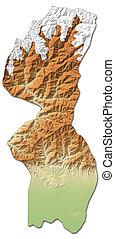 Relief map - Mechi (Nepal) - 3D-Rendering