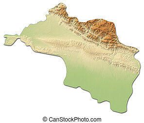 Relief map - Narayani (Nepal) - 3D-Rendering