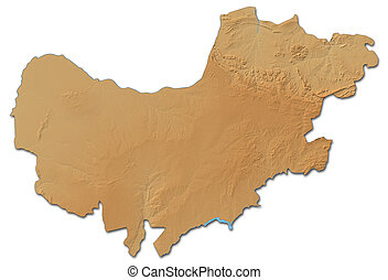 Relief map - North West (South Africa) - 3D-Rendering