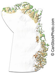 Relief map - Northeast Greenland National Park (Greenland) - 3D-Rendering