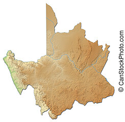 Relief map - Northern Cape (South Africa) - 3D-Rendering