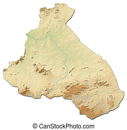 Relief map - Northern District (Cameroon) - 3D-Rendering