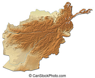 Relief map of Afghanistan - 3D-Rendering