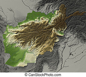 Relief Map of Afghanistan. Shows major cities and rivers,...