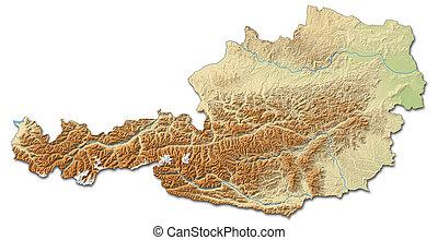 Relief map of Austria - 3D-Rendering