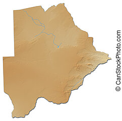 Relief map of Botswana - 3D-Rendering