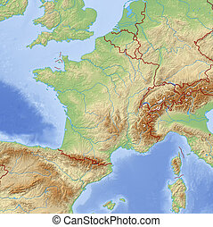 Relief Map of France - 3D-Rendering