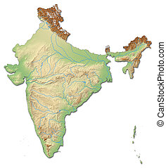 Relief map of India - 3D-Rendering