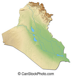 Relief map of Iraq with shaded relief.