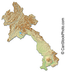 Relief map of Laos - 3D-Rendering