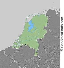 Relief map of Netherlands - 3D-Rendering