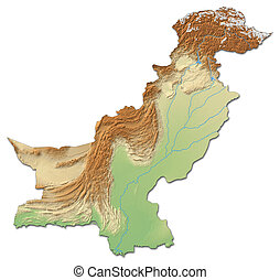 Relief map of Pakistan - 3D-Rendering