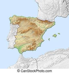 Relief map of Spain - 3D-Rendering