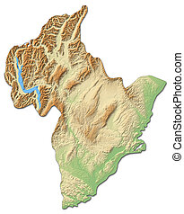 Relief map - Otago (New Zealand) - 3D-Rendering