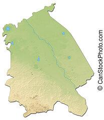 Relief map - Pavlodar (Kazakhstan) - 3D-Rendering