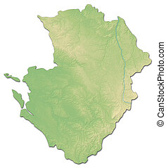 Relief map - Poitou-Charentes (France) - 3D-Rendering