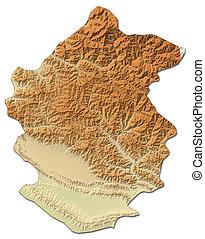 Relief map - Rapti (Nepal) - 3D-Rendering