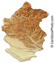 Relief map - Rapti (Nepal) - 3D-Rendering