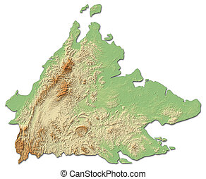 Relief map of Sabah, a province of Malaysia, with shaded relief.