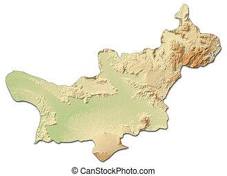 Relief map - Salavan (Laos) - 3D-Rendering