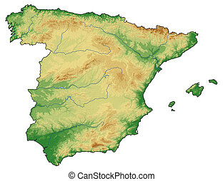 Elevation Map Of Spain.Spain Shaded Relief Map Spain Shaded Relief Map Surrounding