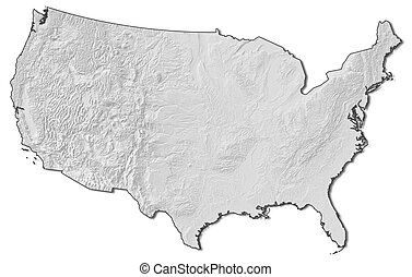 Relief map - United States - 3D-Rendering
