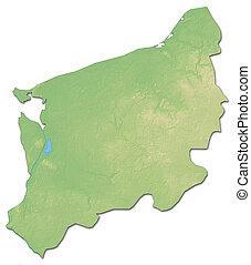 Relief map - West Pomeranian (Poland) - 3D-Rendering