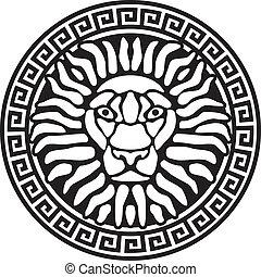 relief., retrato, meanders., leão, antigüidade