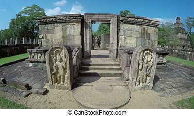 Relief Sculptures Flanking Entrance to Stone Ruin in...