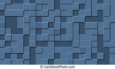Relief structure of varying square elements in blue - 4K abstract motion background - endless loop