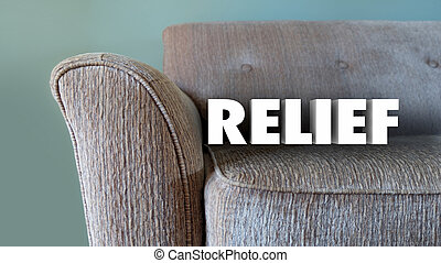 Relief Word Couch Breathe Easy Relax 3d Illustration